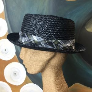 Straw Pork Pie With Plaid Hat Band